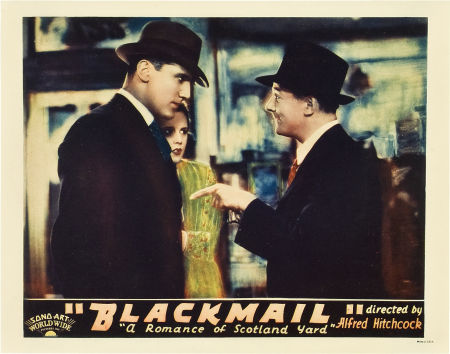 lobby card for hitchcock's blackmail